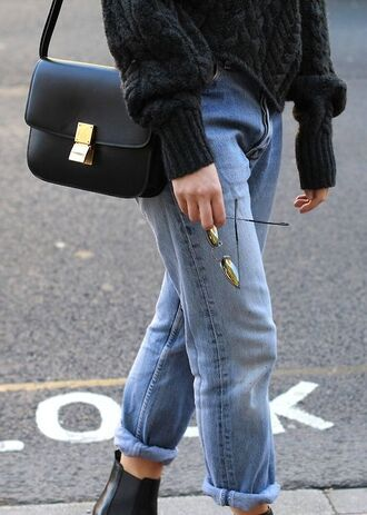 jeans cuffed jeans oversized sweater black boots shoulder bag black leather bag boyfriend jeans fall outfits light blue jeans heavy knit jumper bag tumblr black bag denim blue jeans sweater black sweater