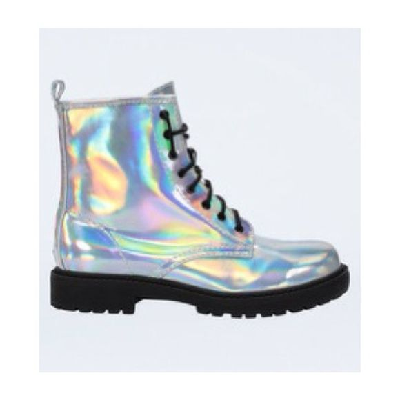 shoes boots cute ankle boots lace up holographic need it in my life kawaii