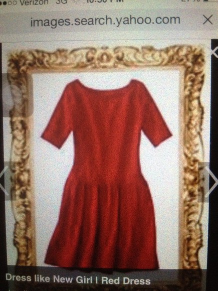 dress red dress new girl zooey deschanel