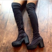 over the knee boots,black,boots,tall boots,platform shoes,platform high heels,platform boots,thigh boots,grunge shoes