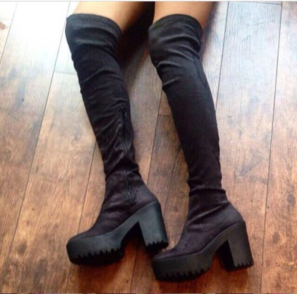 Shoes: over the knee boots black boots tall boots platform