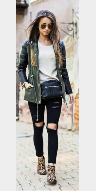 jacket green jacket with leather sleeves leather sleeves dark green jacket