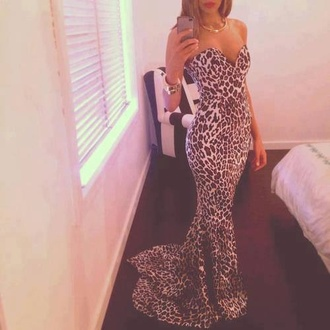 dress long maxi prom leopard print pattern hot strapless mermaid maxi dress leopard print leopard print tight