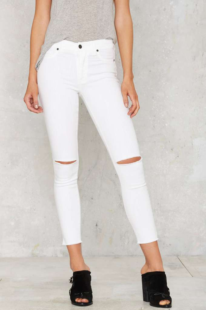 High-Waisted Cropped Skinny Jeans -- White