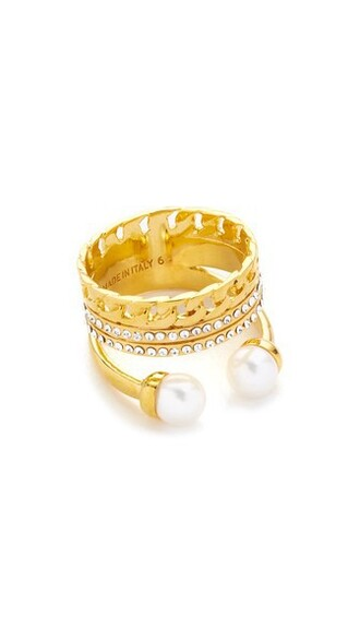 clear pearl triple ring gold jewels