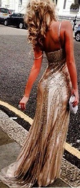 dress gold dress beaded dress dress prom gown prom dress
