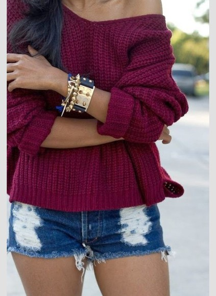 burgundy sweater knitted sweater fashion