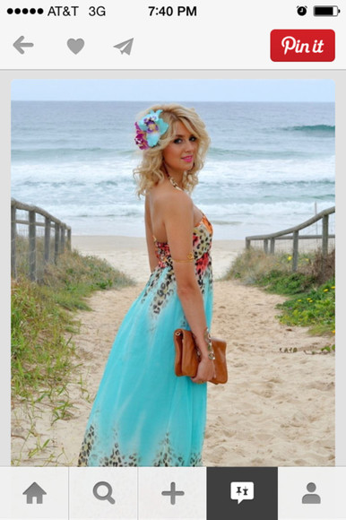 dress maxi dress teal dress leopard print