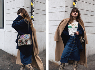 the fashion fraction blogger coat cardigan t-shirt skirt bag shoes gucci bag gucci shoulder bag button up denim skirt camel coat boots winter outfits