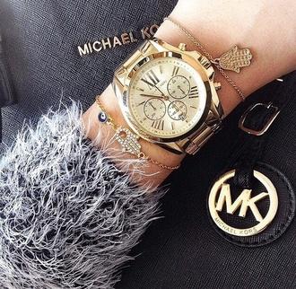 jewels sweater marled grey black white somber gold watch michael kors accessory jewelry bracelets stacked bracelets hamsa hamsa bracelet