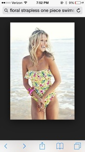 swimwear,floral one piece strapless swimsuit