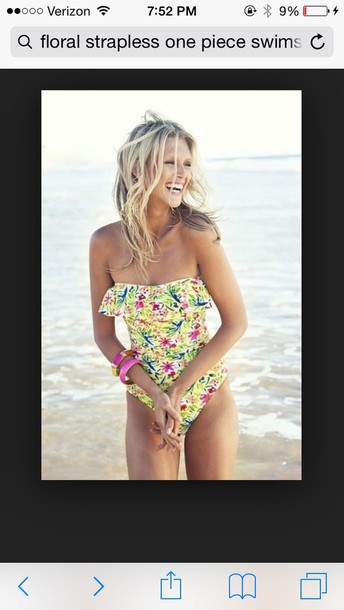 swimwear floral one piece strapless swimsuit