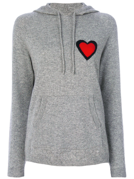 hoodie heart women grey sweater