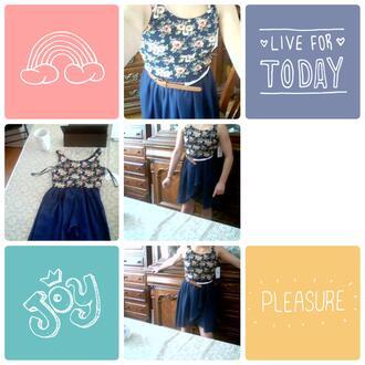 dress blue bluedress flowers belt waist belt