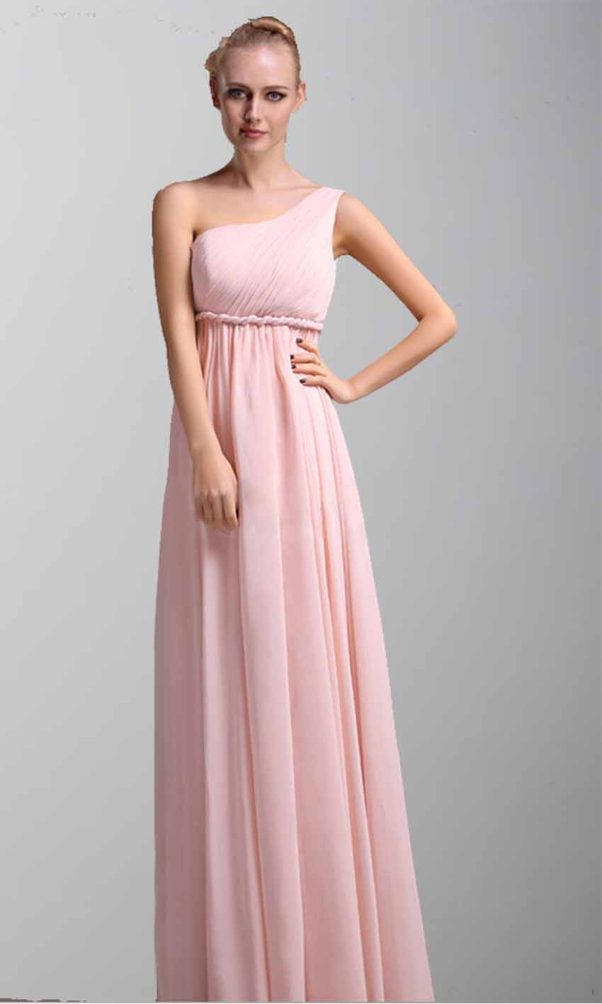 One Shoulder Braided Belt Long Bridesmaid Dress Pregnant ...
