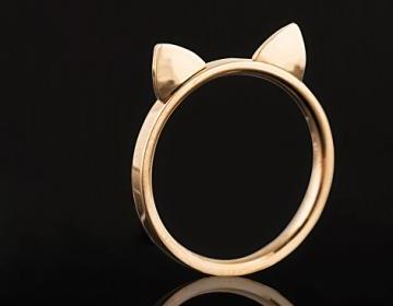 Rose gold cat ears ring [stainless ..
