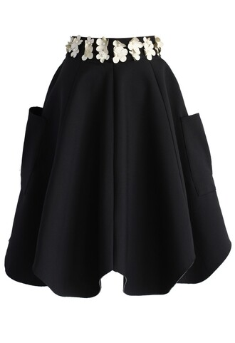 chicwish 3d flower tulip skirt black skirt