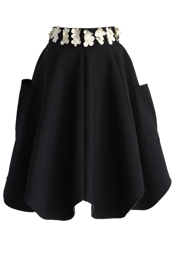 chicwish 3d flower tulip skirt black skirt