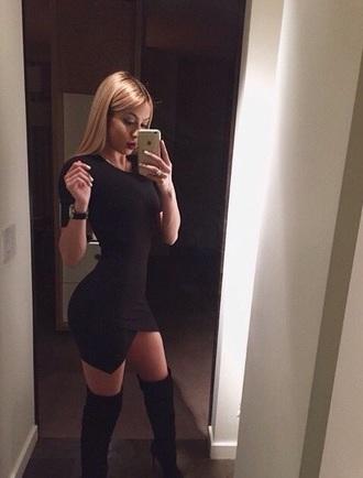black dress bodycon dress sexy dress thigh high boots black boots