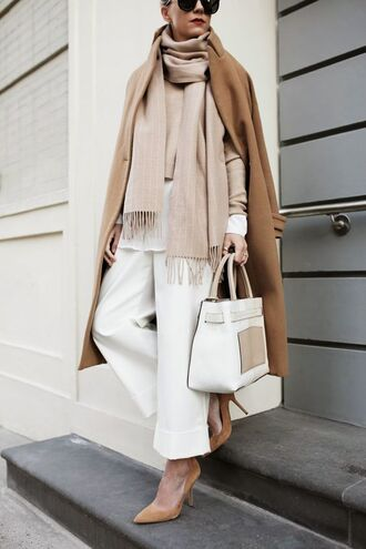 coat white and beige outfit white and beige scarf beige pants white pants sweater bag pumps pointed toe pumps high heel pumps tumblr tumblr outfit winter outfits winter coat apartment34 blogger jacket belt