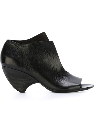 heel chunky heel open women sandals leather black shoes