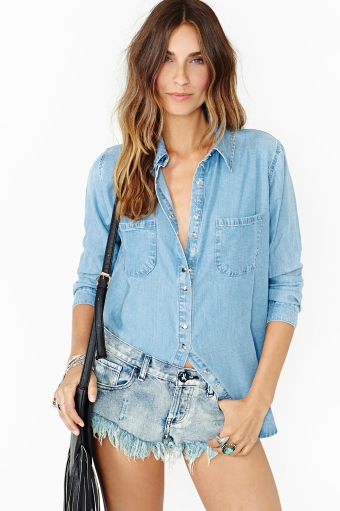 Cheyenne chambray shirt  in  clothes at nasty gal
