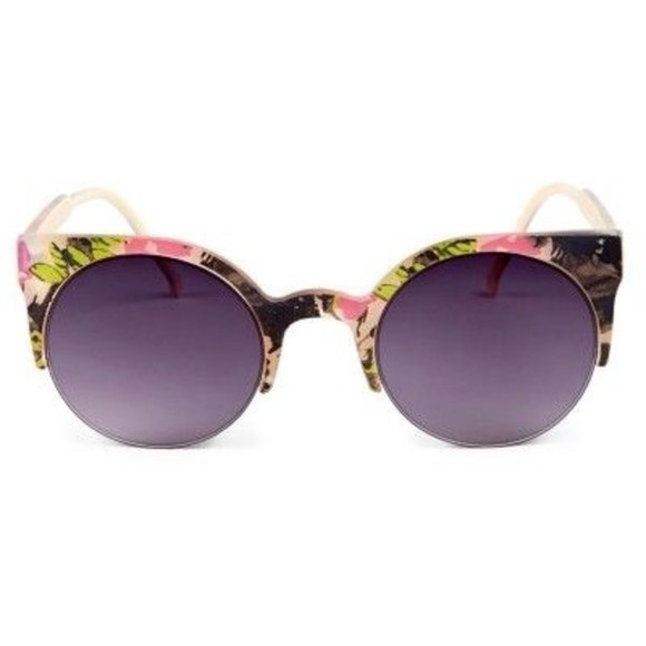 sunglasses cat eye black floral shades multicolour cute summer spring