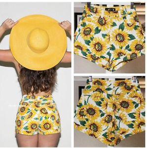 High Waisted Sunflower Shorts Pattern Print Denim Fashion Fast Shipping | eBay