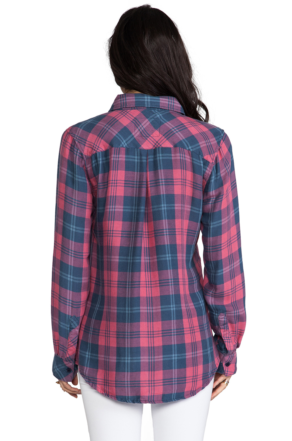 Rails Kendra Button Down in Red & Slate   REVOLVE