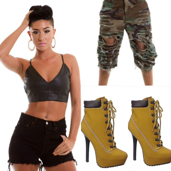 blouse undefined shorts ripped shorts boots bralette shoes