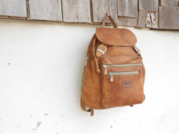 Bag: vintage, backpack, leather backpack, brown leather backpack ...