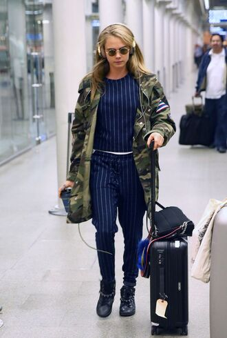 jacket top pants cara delevingne stripes camouflage camo jacket blouse