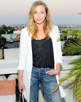 jacket white white blazer mom jeans denim linen black elizabeth olsen straight jeans black t-shirt olsen sisters