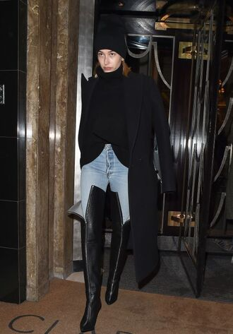 hat beanie boots over the knee boots hailey baldwin model off-duty jeans coat turtleneck london fashion week 2018 fashion week
