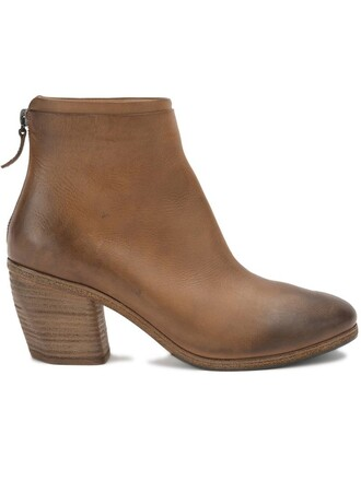 zip women boots ankle boots leather brown shoes