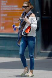 jeans,skinny jeans,olivia palermo,flats,ballet flats,blouse,printed ballerinas,denim,blue jeans,top,white top,off the shoulder,off the shoulder top,scarf,bag,black bag,sunglasses,black sunglasses