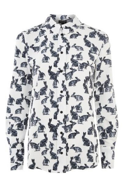 shirt bunny print monochrome top