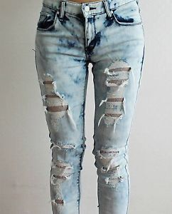 Distressed Ripped TIE DYE BLUE Skinny Jeans, Lace Lined, Destroyed, UK 6,8,10 | eBay