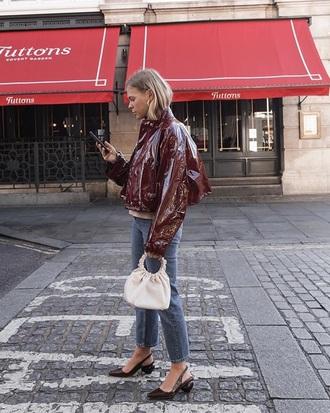 bag white bag jacket brown jacket vinyl shoes slingbacks handbag jeans denim blue jeans