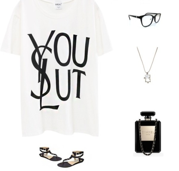 shirt ysl chanel ysl tee ysl tshirt t-shirt fashion streetstyle luxury bag shoes glasses necklace