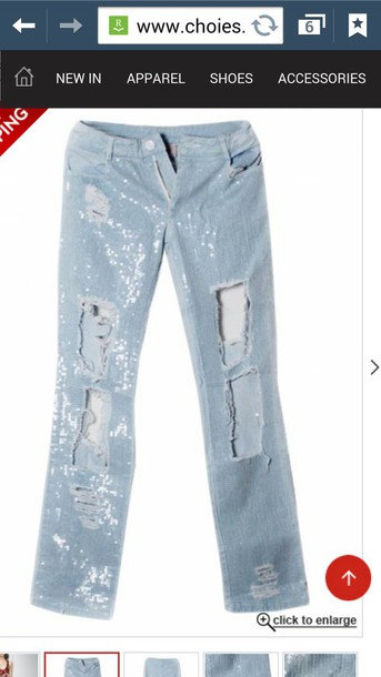 jeans sequins ripped ripped
