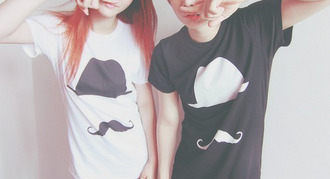 t-shirt mustache black and white shirt couples shirts bff