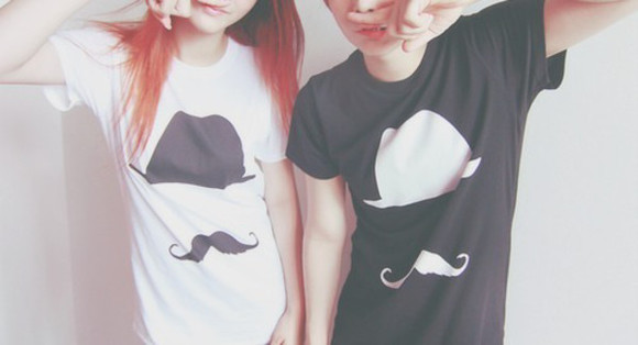 mustache t-shirt black and white shirt couples shirts bff