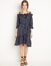 dress,ava striped off the shoulder button down shirt dress,pixiemarket,cute dress,off the shoulder,summer dress,summer outfits,spring outfits,special occasion dress