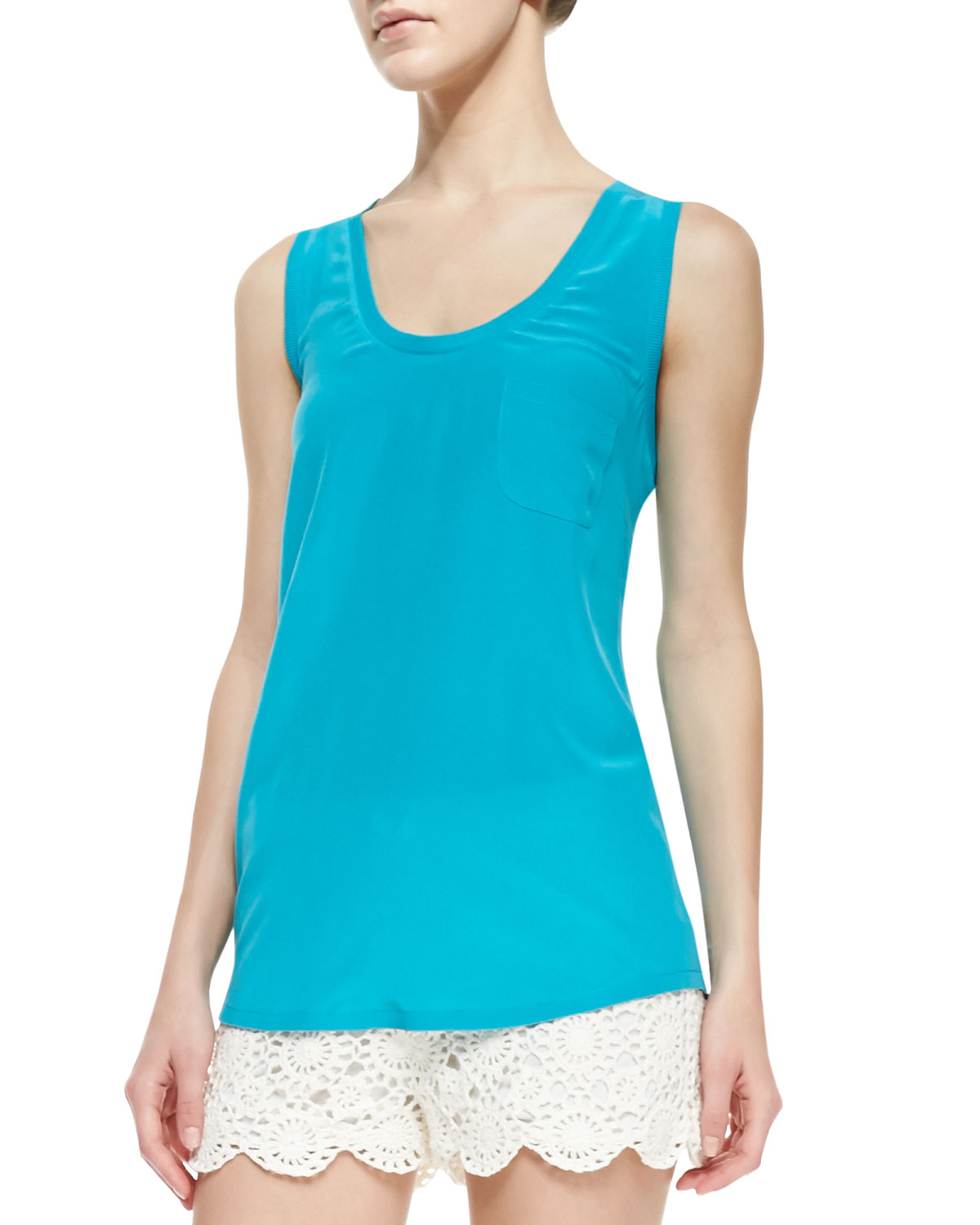 Joie Alicia Silk Tank Top, Peacock