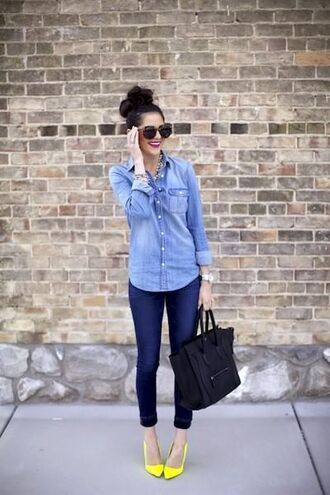 shirt yellow pumps yellow stilettos yellow heels blue jeans skinny blue jeans skinny jeans denim shirt button down denim shirt pink peonies blogger top knot bun celine celine bag black tote oversized sunglasses double denim