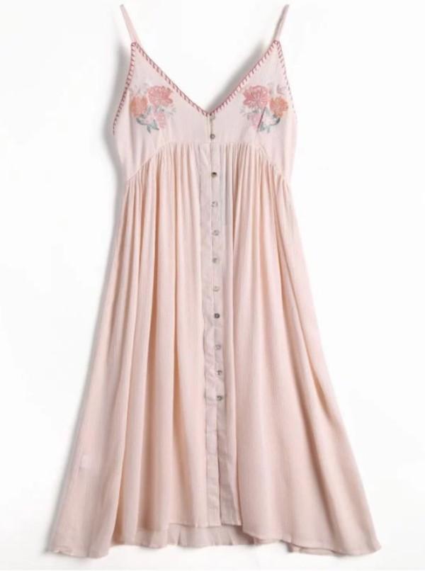 dress embroidered girly summer pink pink dress button up
