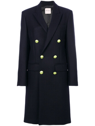 coat double breasted women blue wool