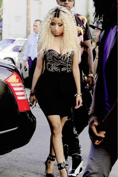 Dress Gold Fashion Black Dress Nicki Minaj Wheretoget