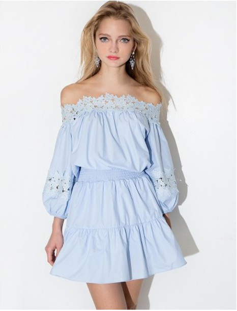 4743b97805 dress summer cute off the shoulder crochet blue light blue long sleeve  dress long sleeves summer